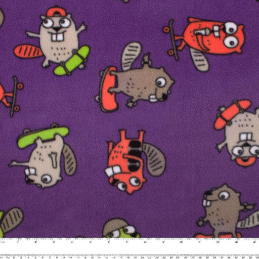 FROSTY Anti Pill Fleece Print - Beavers - Purple