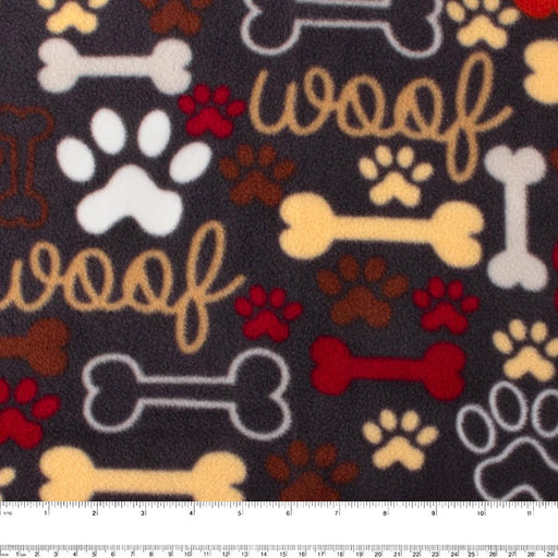 FROSTY Anti Pill Fleece Print - Bones - Brown