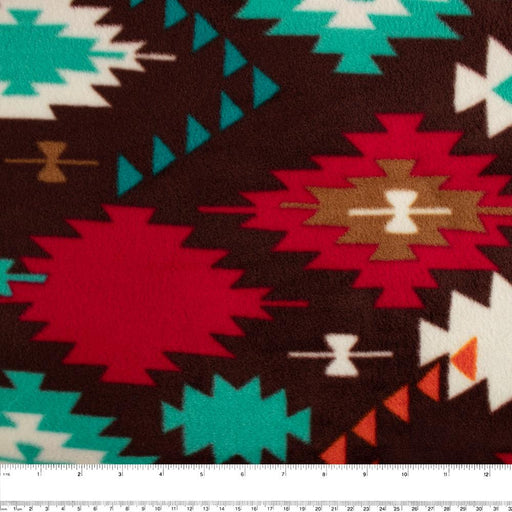 NORTHERN Fleece print - Navajo - Red / Brown