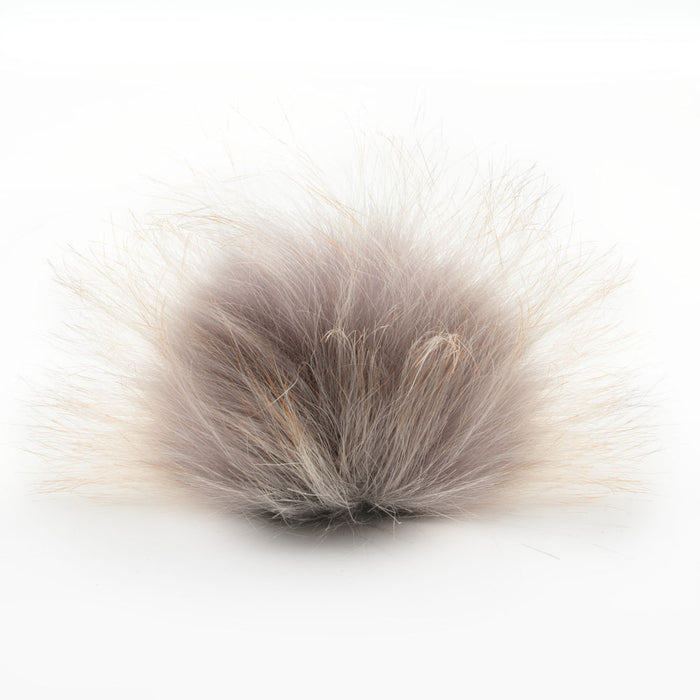 Faux Fur PomPom 10cm - Grey W/ Camel Tips