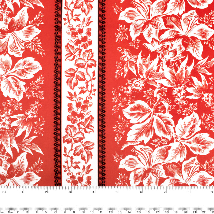 Contrast Cotton Print - Lily / Stripes - Red