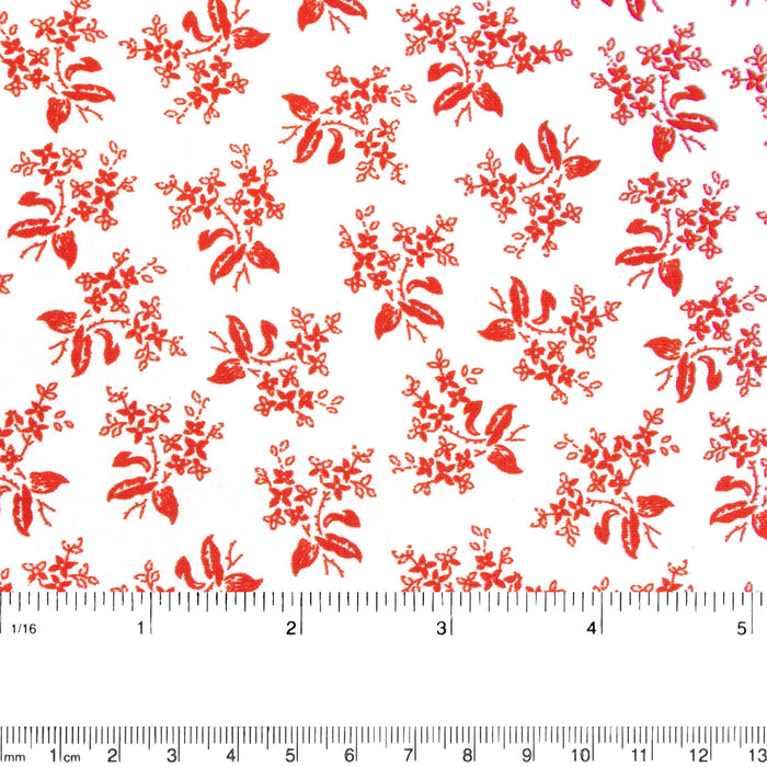 Contrast Cotton Print - Bouquets - White