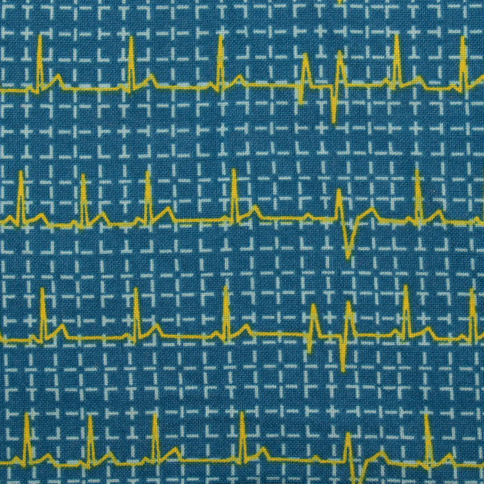FRONT LINES Cotton print - Heart pulse - Blue