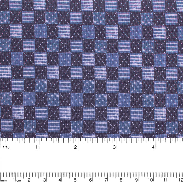 FIGO-COZY UP Cotton print - Plaids - Blue