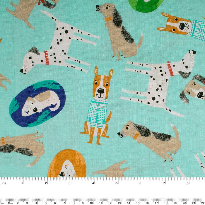 FRIENDLY DOGS Printed Cotton - Dogs - Blue