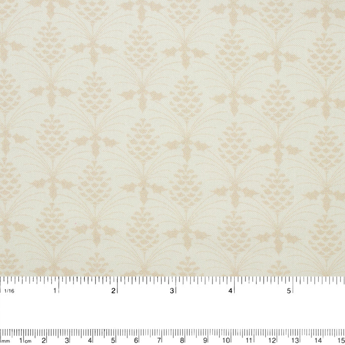 CHRISTMAS BIRD SONG Printed Cotton - Pine cone - Beige