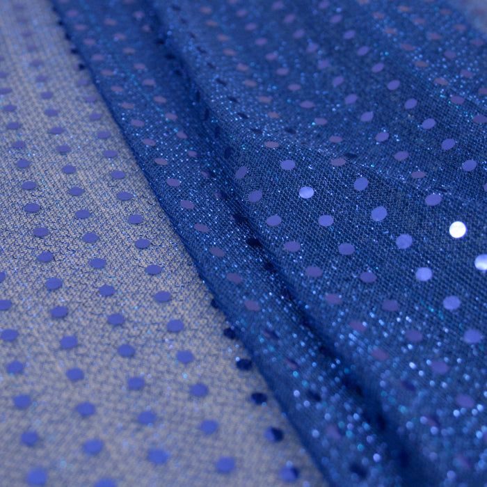 Spangle Knit - Blue mesh with Blue dot