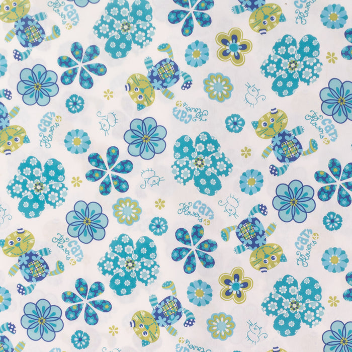 Stay dry digital printed PUL -  Cat and daisy - Blue