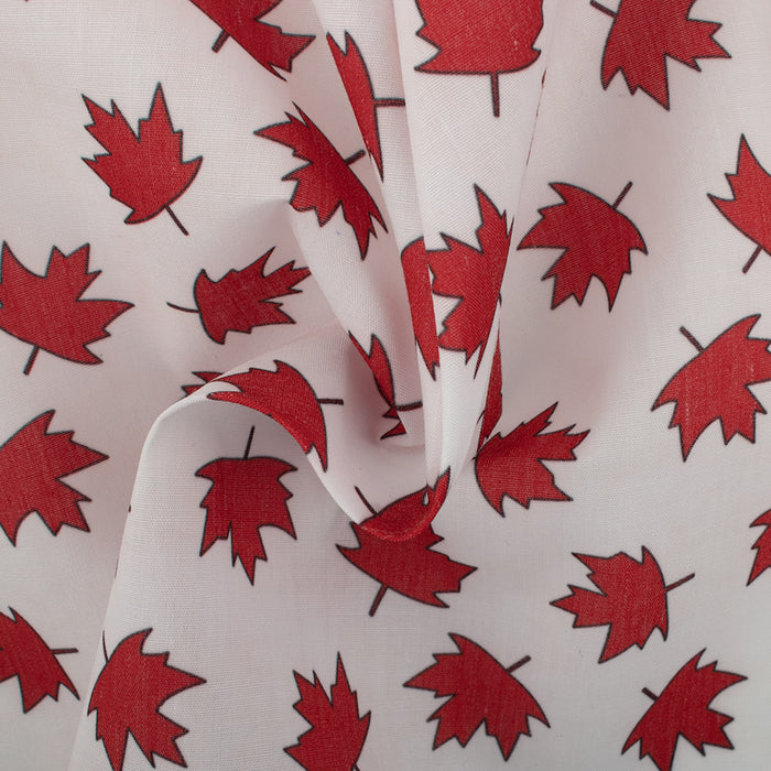 Patriotic prints - Small maple leaf - White - Red