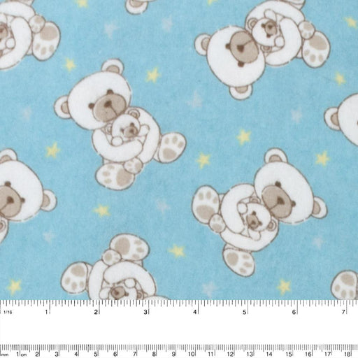 Abbey Printed Flannelette - Teddy bear - Turquoise