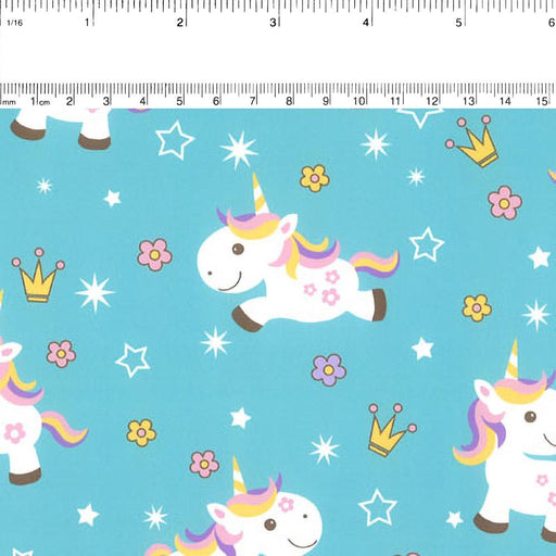 Abbey Printed Flannelette - Baby unicorns - Blue