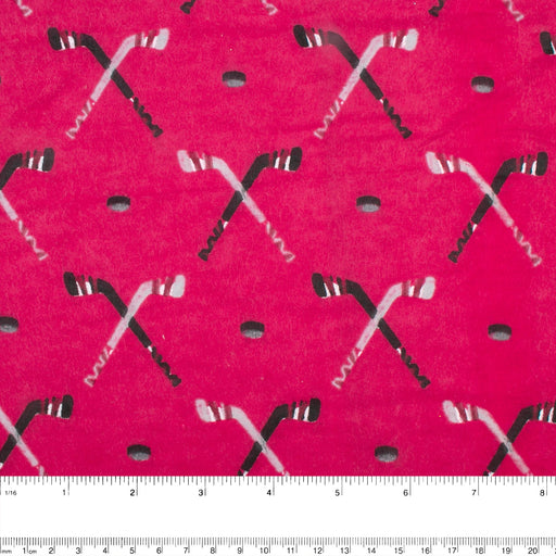 Abbey Printed Flannelette - Hockey - Red