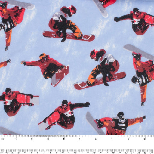 Abbey Printed Flannelette - Snowboard - Red