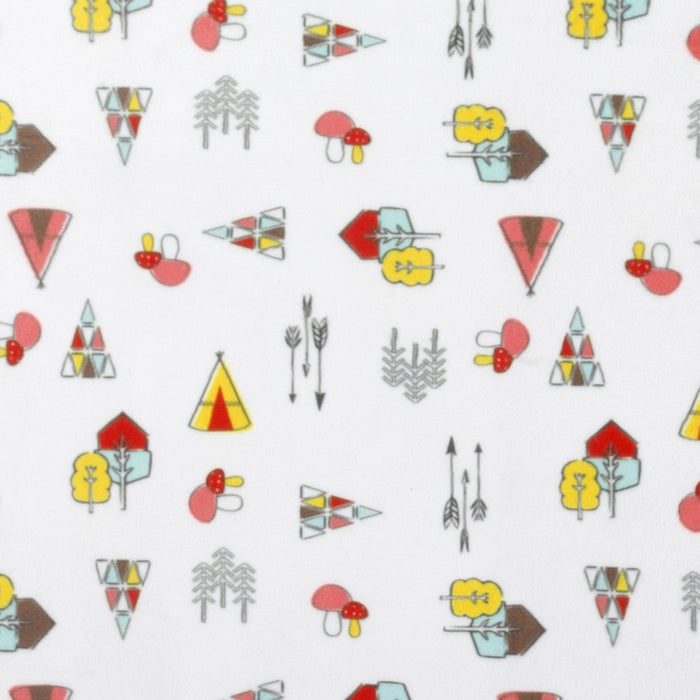 Michael Miller Printed minky - Arrows and tipi - white