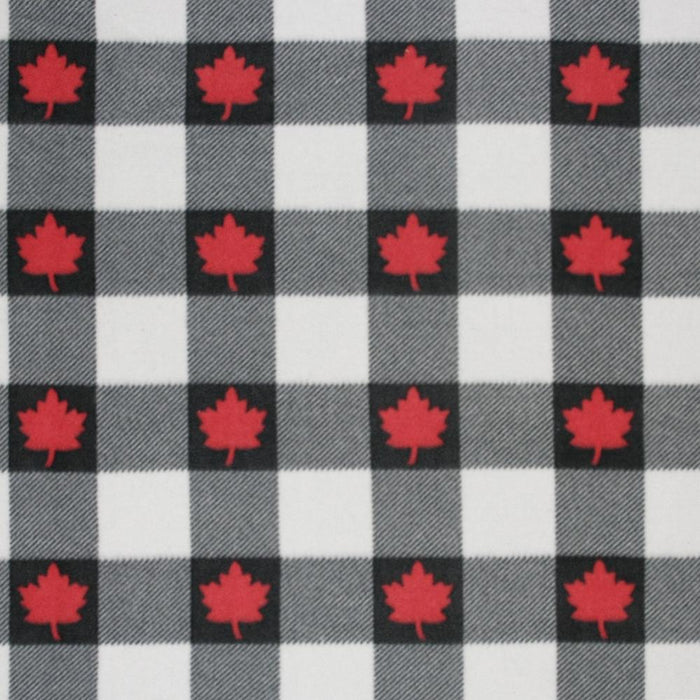 Canadiana Fleece Prints - Buffalo Plaid - Black on Cream with Red Maple Leaf