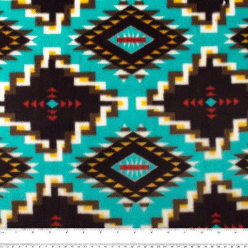 NORTHERN Fleece print - Navajo - Turquoise / Brown