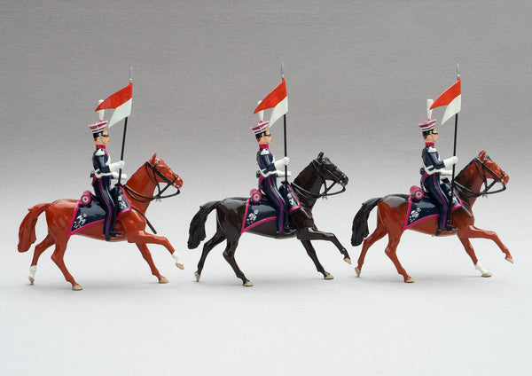 Set 102 Polish Lancers | Cavalry | Napoleonic Wars | Three light horses with mounted lancers | Waterloo | © Imperial Productions | Sculpt by David Cowe