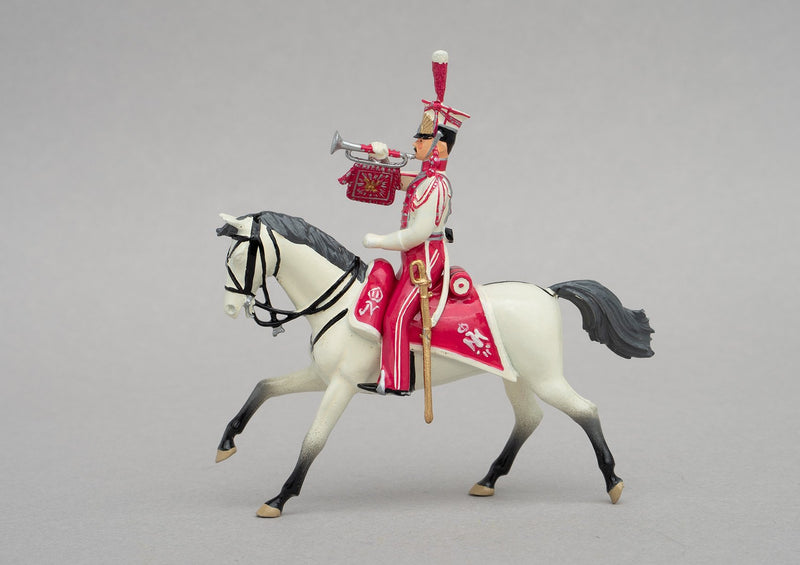 Set 103 Polish Lancers, Trumpeter | Cavalry | Napoleonic Wars | Single mounted figure with trumpet on grey horse | Waterloo | © Imperial Productions | Sculpt by David Cowe