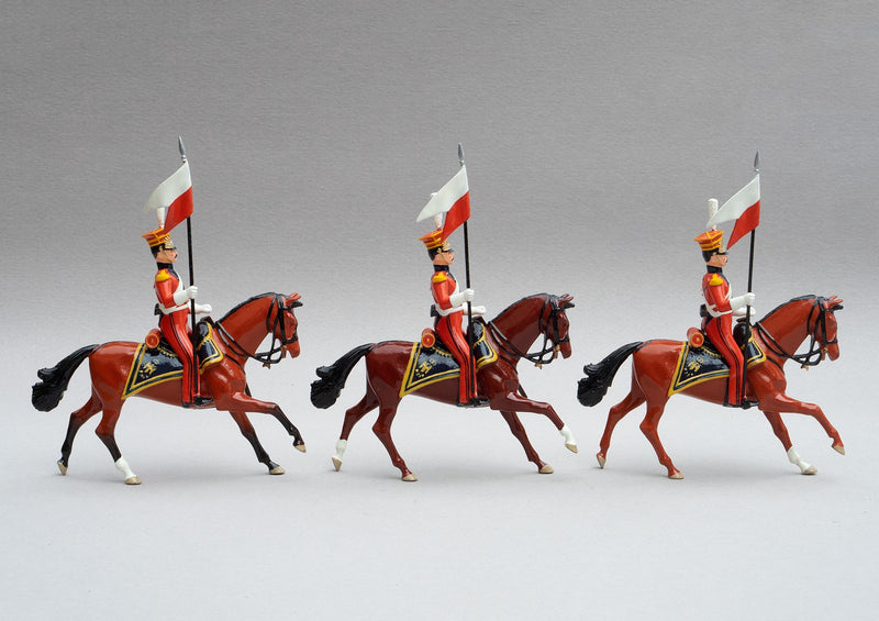 Set 105 Dutch Lancers | Cavalry | Napoleonic Wars | Three Dutch Lancers dressed in orange uniform with lances adorned with red and white pennants | Waterloo | © Imperial Productions | Sculpt by David Cowe