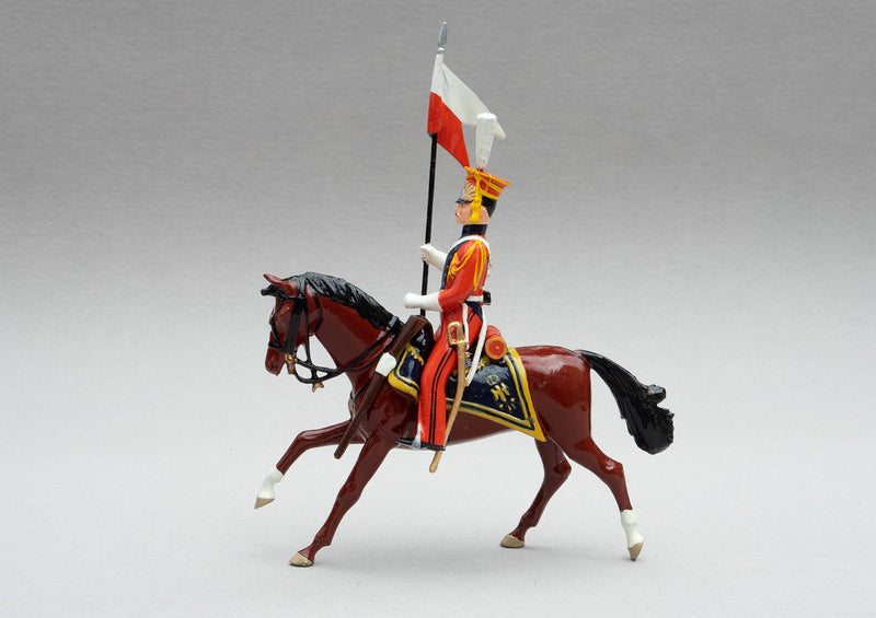 Set 105 Dutch Lancers | Cavalry | Napoleonic Wars | Single Dutch Lancer dressed in orange uniform with lance adorned with red and white pennant | Waterloo | © Imperial Productions | Sculpt by David Cowe