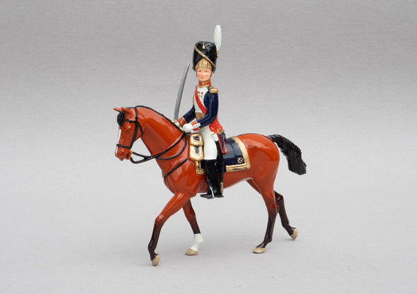 Set 108 General Dorsenne | French Infantry | Napoleonic Wars | French military commander of the Revolutionary and Napoleonic wars. Dressed in the uniform of the Grenadiers of the Guard.  Single mounted officer on chestnut horse | Waterloo | © Imperial Productions | Sculpt by David Cowe
