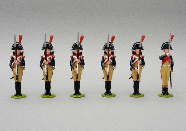 Set 111 Gendarmerie Impériale | French Infantry | Napoleonic Wars | Six men, all at the present arms position. The officer presents with his straight epee, the five men, their short muskets with bayonets fixed | Waterloo | © Imperial Productions | Sculpt by David Cowe