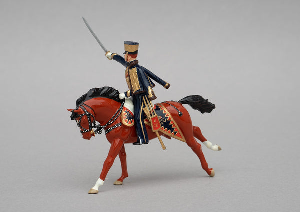 Set 114 Earl of Uxbridge, Waterloo, 1815 | British Cavalry | Napoleonic Wars | British commander of cavalry and artillery Napoleonic Wars, Waterloo.  Dressed in the uniform of the 7th Hussars. Single mounted officer with sabre on bay horse | Waterloo | © Imperial Productions | Sculpt by David Cowe