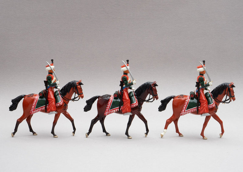 Set 117 Marmelukes | French Cavalry | Napoleonic Wars | Three mounted cavalry figures. Their uniform is of Syrian and Turkish Mameluke pattern; turban, sleeved chemise, arab sash, charoual-style trousers, and Mameluke sabre | Waterloo | © Imperial Productions | Sculpt by David Cowe