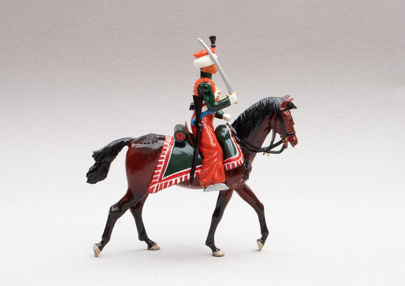 Set 117 Marmelukes | French Cavalry | Napoleonic Wars | Single mounted cavalry figure. His uniform is of Syrian and Turkish Mameluke pattern; turban, sleeved chemise, arab sash, charoual-style trousers, and Mameluke sabre | Waterloo | © Imperial Productions | Sculpt by David Cowe