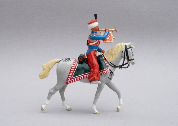 Set 119 Mameluke Trumpeter | French Cavalry | Napoleonic Wars | Trumpeter of Marmeluke cavalry. Distinguished by his sky blue tunic. Single mounted trumpeter on grey horse | Waterloo | © Imperial Productions | Sculpt by David Cowe