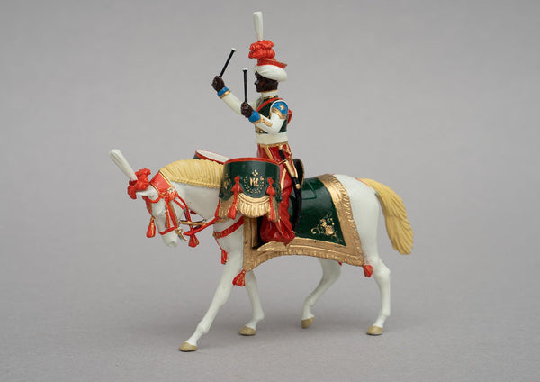Set 120 Mameluke Drum Horse | French Cavalry | Napoleonic Wars | Drummer of Marmeluke cavalry. Uniform is of Syrian and Turkish Mameluke pattern; turban, sleeved chemise, arab sash, charoual-style trousers, and Mameluke sabre. Single mounted drummer on palomino | Waterloo | © Imperial Productions | Sculpt by David Cowe