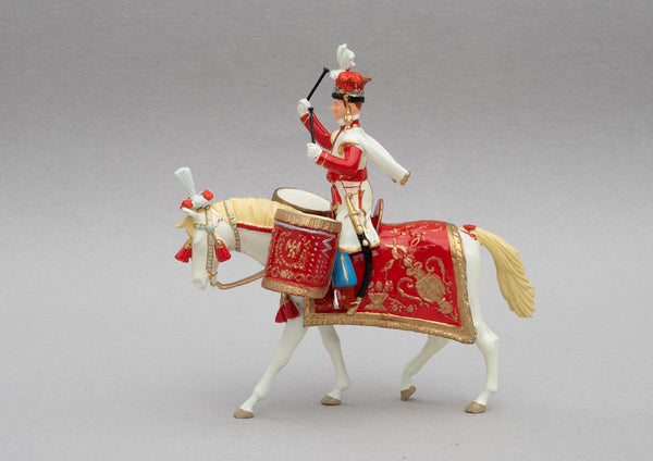 Set 123 Polish Lancers Drum Horse | French Cavalry | Napoleonic Wars | Drum horse, mounted cavalry.  Single mounted figure with drum on a palomino | Waterloo | © Imperial Productions | Sculpt by David Cowe