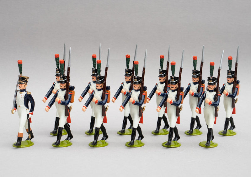 Set 124a Fusiliers-Chasseur | French Infantry | Napoleonic Wars | Combined sets 124 and 124a showing 12 Fusiliers | Waterloo | © Imperial Productions | Sculpt by David Cowe