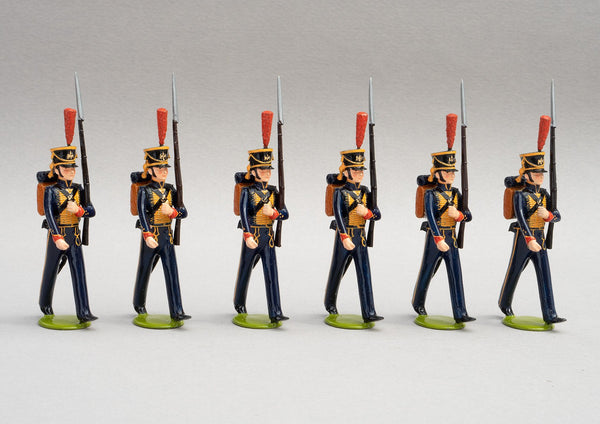 Set 125a Seamen of the Guard | French Infantry | Napoleonic Wars | Marins de la Garde French Naval Infantry. This set comprises six men marching at slope arms | Waterloo | © Imperial Productions | Sculpt by David Cowe