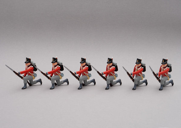 Set 128 1st Foot Guards, Waterloo 1815 | British Infantry | Napoleonic Wars | Six men kneeling ready to resist cavalry as the first rank of a defensive square. 1st Infantry Division | Waterloo | © Imperial Productions | Sculpt by David Cowe