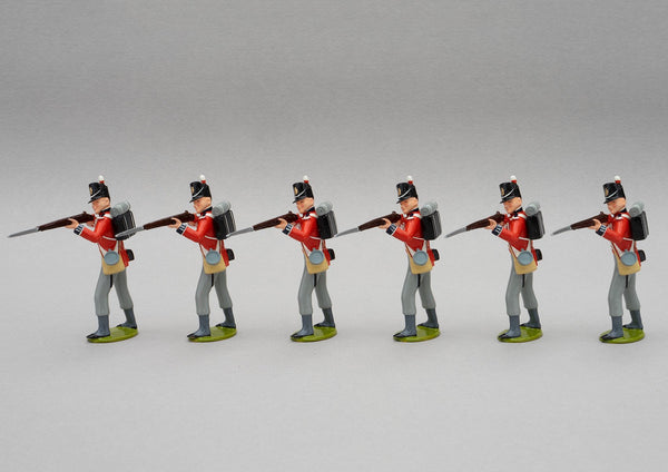 Set 129 1st Foot Guards, Waterloo 1815 | British Infantry | Napoleonic Wars | Six men standing firing as the rear rank of a defensive square. 1st Infantry Division | Waterloo | © Imperial Productions | Sculpt by David Cowe