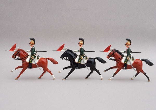 Set 131 3rd Chevau-Legers Lancers | French Cavalry | Napoleonic Wars | Commanded by Colonel Martigue, and attached to the 1st Corps of the Grande Armee. Three mounted cavalrymen lances adorned with red and white pennants | Waterloo | © Imperial Productions | Sculpt by David Cowe