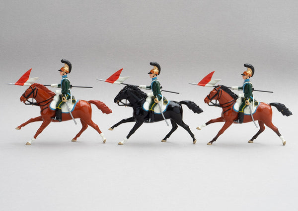 Set 133 5th Chevau-Legers Lancers | French Cavalry | Napoleonic Wars | At Quatre Bras the Lancers were came close to capturing the Duke of Wellington  Three mounted cavalrymen lances adorned with red and white pennants | Waterloo | © Imperial Productions | Sculpt by David Cowe