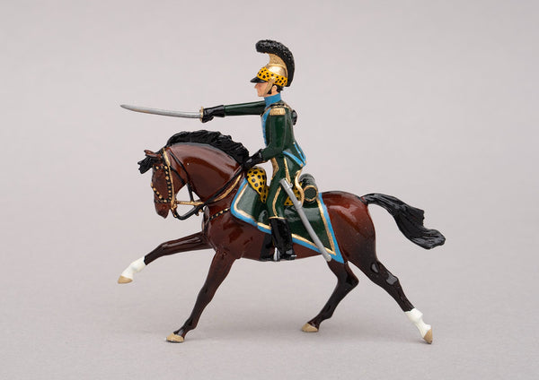 Set 134 Officer 5th Chevau-Legers Lancers | French Cavalry | Napoleonic Wars | Single mounted officer on bay horse | Waterloo | © Imperial Productions | Sculpt by David Cowe