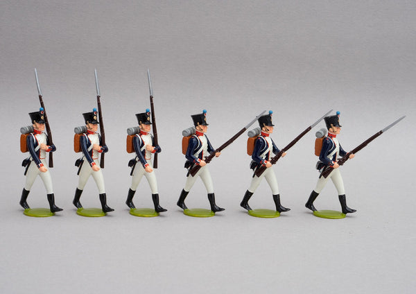 Set 135 Fusiliers Line Infantry | French Infantry | Napoleonic Wars | Three men marching at slope, three at the ready | Waterloo | © Imperial Productions | Sculpt by David Cowe