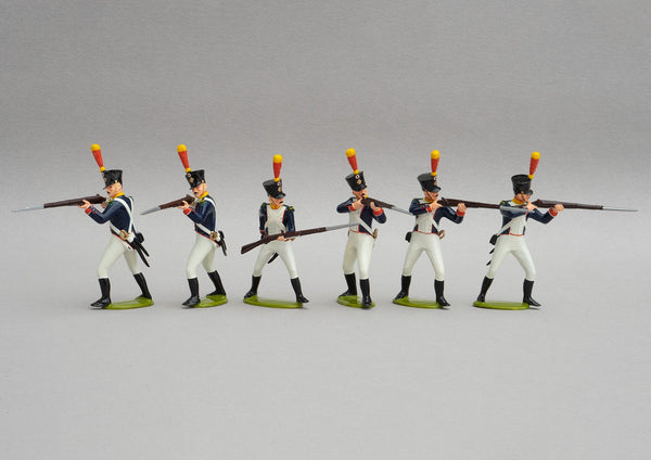 Set 136 Voltigeurs Line Infantry standing | French Infantry | Napoleonic Wars | Five men standing firing, one reloading | Waterloo | © Imperial Productions | Sculpt by David Cowe