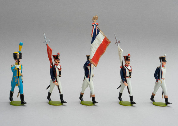 Set 138/1 French Line Infantry Head of Column | French Infantry | Napoleonic Wars | Head of Column, eagle bearer drum major and escort of two men each armed with a halberd with pennon | Waterloo | © Imperial Productions | Sculpt by David Cowe