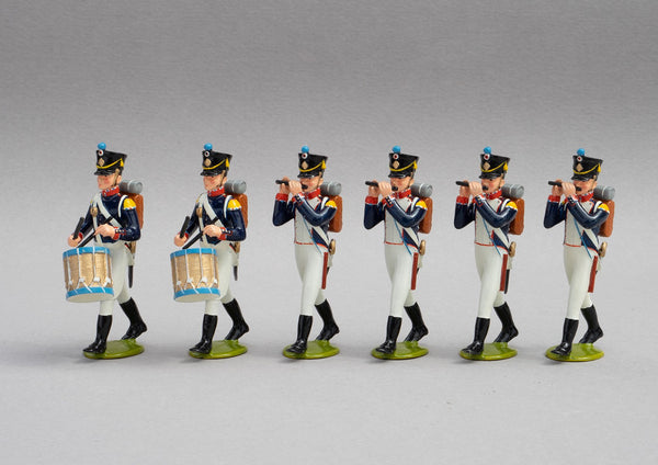 Set 138/2 French Line Infantry Head of Column | French Infantry | Napoleonic Wars | Head of Column, four fifes and two drums | Waterloo | © Imperial Productions | Sculpt by David Cowe