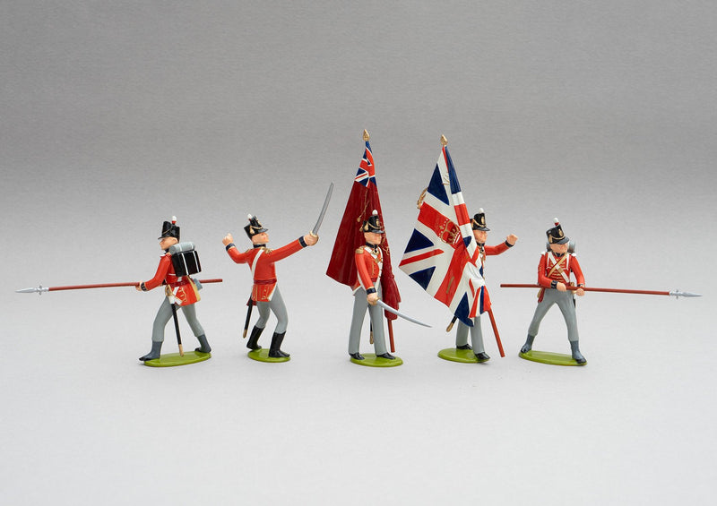 Set 139 1st Foot Guards Colour Party, Waterloo 1815 | British Infantry | Napoleonic Wars | Colour party; two ensigns with colours, two guards with pikes, and an officer with sabre drawn | Waterloo | © Imperial Productions | Sculpt by David Cowe