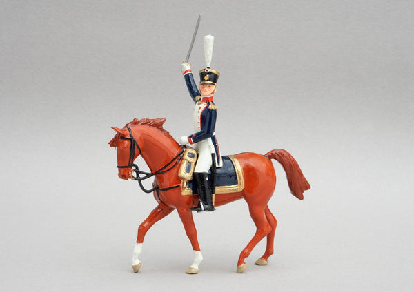 Set 140 Officer French Line Infantry | French Infantry | Napoleonic Wars | Single mounted figure on chestnut horse | Waterloo | © Imperial Productions | Sculpt by David Cowe