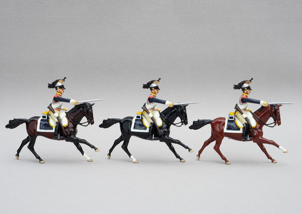 Set 143 Cuirassiers | French Cavalry | Napoleonic Wars | Three mounted heavy cavalrymen with sabres drawn | Waterloo | © Imperial Productions | Sculpt by David Cowe