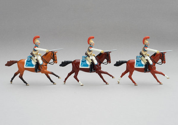 Set 144 Carabiners | French Cavalry | Napoleonic Wars | Three mounted heavy cavalrymen with sabres drawn | Waterloo | © Imperial Productions | Sculpt by David Cowe