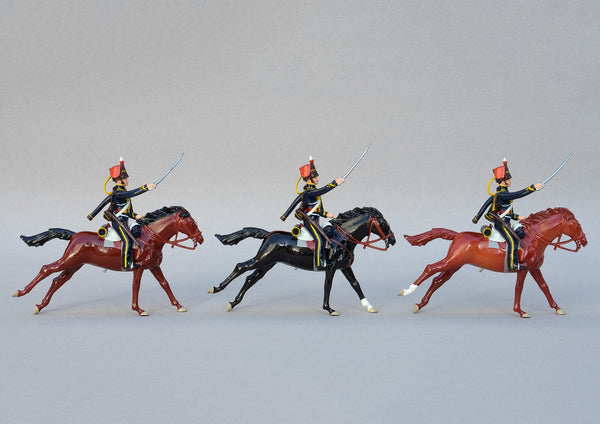 Set 147 7th Hussars, 1815 | British Cavalry | Napoleonic Wars | Three mounted cavalry troopers with rifles and sabres. Brown fur caps with red bags and yellow cap lines | Waterloo | © Imperial Productions | Sculpt by David Cowe