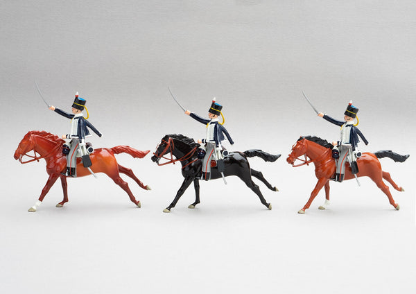 Set 148 18th Hussars, 1815 | British Cavalry | Napoleonic Wars | Three mounted cavalry troopers with rifles and sabres. Black fur caps with blue bags, and dark blue jacket with white looping | Waterloo | © Imperial Productions | Sculpt by David Cowe