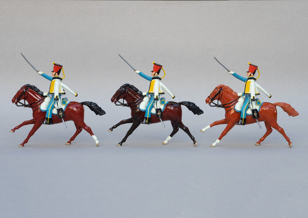 Set 149 5th Hussars | French Cavalry | Napoleonic Wars | Three mounted cavalrymen with rifles and sabres, scarlet shakos, sky blue jacket and white pelisse | Waterloo | © Imperial Productions | Sculpt by David Cowe